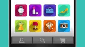 Het mobiele en Internet-winkelen conceptenanimatie, die slimme telefoon met behulp van