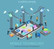Het mobiele isometrische infographic concept van het technologie vlakke 3d Web Stock Afbeelding