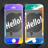 Het mobiele Malplaatje van Apparatensmartphone Het winkelen markeringen en pictogrammen Creatieve Geïsoleerde Digitale Telefoon V Stock Foto's
