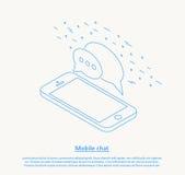 Het mobiele ontwerp van de praatje dunne lijn Stock Afbeeldingen