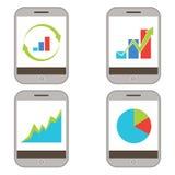 Het mobiele Pictogram van Financiëngrafieken Royalty-vrije Stock Afbeelding