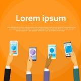 Het mobiele Scherm van de de Handenaanraking van het Cel Slimme Telefoongesprek Stock Afbeelding