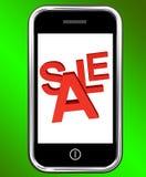Het mobiele Scherm van de Verkoop van de Telefoon toont Online Kortingen stock illustratie
