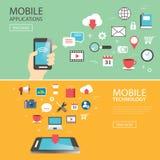 Het mobiele van het de bannermalplaatje van de toepassingstechnologie vlakke ontwerp Royalty-vrije Stock Foto