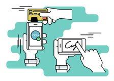 Het mobiele verwerven met handtekening via smartphone Stock Afbeelding