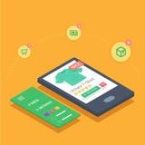 Het mobiele winkelen met de ontvankelijke toepassing van de eshopwebsite Stock Foto's