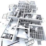 Het model en de blauwdruk van Appartmen Stock Afbeeldingen