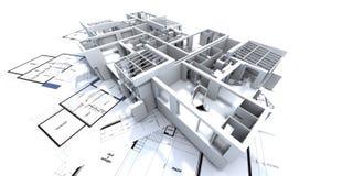 Het model en de blauwdruk van Appartmen Stock Foto's