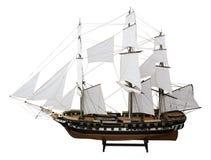 Het model militaire fregat Pallada van Russian op de witte achtergrond. royalty-vrije stock afbeeldingen