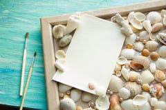 Het model op de achtergrond van overzeese shells als thema heeft, vakantie, brief, prentbriefkaar Royalty-vrije Stock Foto