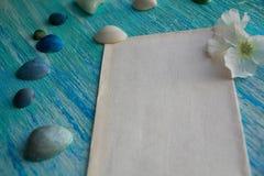 Het model op de achtergrond van overzeese shells als thema heeft, vakantie, brief, prentbriefkaar Royalty-vrije Stock Afbeeldingen