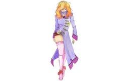Het model van Anime in purpere laag Royalty-vrije Stock Foto's