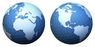 Het model van de aarde dat op wit wordt geïsoleerdm royalty-vrije illustratie