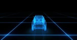 Het model van de sportwagendraad met blauwe neon ob zwarte achtergrond Royalty-vrije Stock Foto