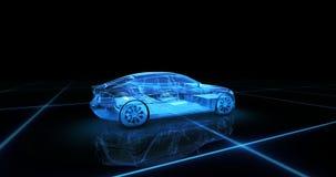 Het model van de sportwagendraad met blauwe neon ob zwarte achtergrond Royalty-vrije Stock Afbeeldingen