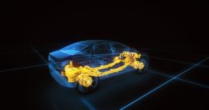 Het model van de sportwagendraad met blauwe neon ob zwarte achtergrond Stock Afbeeldingen