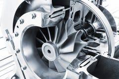 Het model van de turbocompressorstructuur, gestemd blauw royalty-vrije stock fotografie