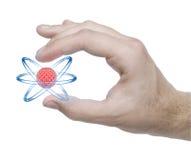 Het model van het atoom in de hand vector illustratie