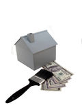 Het model van het huis met verfborstel Royalty-vrije Stock Afbeeldingen