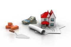 Het model van het huis op een plan Royalty-vrije Stock Afbeeldingen