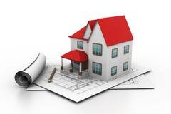 Het model van het huis op een plan Royalty-vrije Stock Fotografie