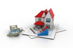 Het model van het huis op een plan Stock Foto's