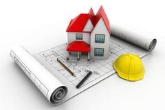 Het model van het huis op een plan Royalty-vrije Stock Foto