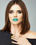 Het model van het schoonheidsmeisje Sluit omhoog gezicht Mooie vrouw Stock Foto