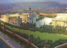Het model van Moskou het Kremlin in het hotel van Radisson de Oekraïne stock fotografie