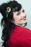 Het Model van Pinup in Rode Sweater stock foto's