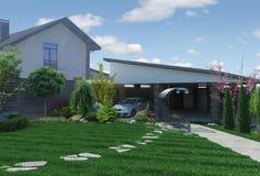 Het modelleren 3D tuinpanorama, geeft terug Royalty-vrije Stock Afbeelding