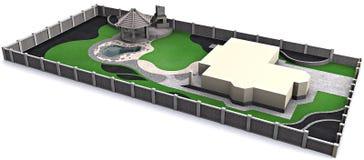 Het modelleren luchtperspectief, 3d illustratie Stock Fotografie