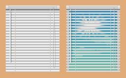Het modelreeks van vensterzonneblinden Vector realistische illustratievensters met open en dichte horizontale blinde gordijnen stock afbeeldingen