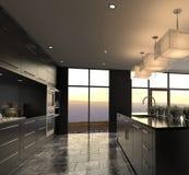 Het moderne Binnenland van de Ontwerp Luxueuze Keuken Royalty-vrije Stock Afbeeldingen
