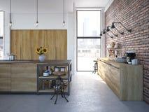Het moderne Binnenland van de Ontwerp Luxueuze Keuken het 3d teruggeven Stock Foto's