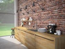 Het moderne Binnenland van de Ontwerp Luxueuze Keuken het 3d teruggeven Royalty-vrije Stock Afbeelding