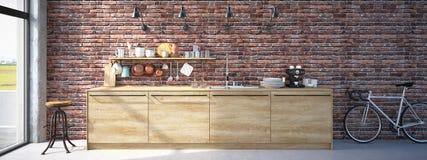 Het moderne Binnenland van de Ontwerp Luxueuze Keuken het 3d teruggeven Stock Afbeelding
