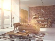 Het moderne Binnenland van de Ontwerp Luxueuze Keuken het 3d teruggeven Royalty-vrije Stock Foto