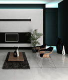 Het moderne binnenland van de ontwerp witte woonkamer Royalty-vrije Stock Foto's