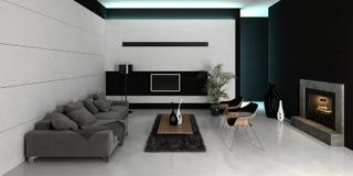Het moderne binnenland van de ontwerp witte woonkamer Royalty-vrije Stock Foto