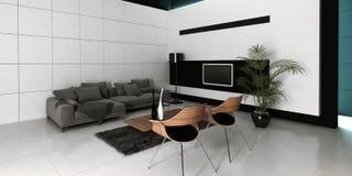 Het moderne binnenland van de ontwerp witte woonkamer Royalty-vrije Stock Afbeeldingen