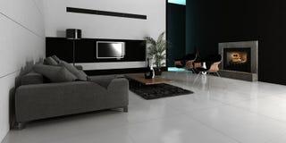 Het moderne binnenland van de ontwerp witte woonkamer Stock Foto