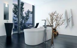 Het moderne binnenland van de ontwerpbadkamers met badkuip Royalty-vrije Stock Afbeelding