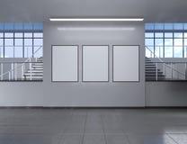 Het moderne binnenland van de schoolgang met lege affiche op muur Spot omhoog, 3D Teruggevende illustratie Stock Afbeelding