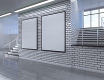 Het moderne binnenland van de schoolgang met lege affiche op muur Spot omhoog, 3D Teruggevende illustratie Royalty-vrije Stock Fotografie