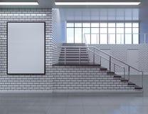 Het moderne binnenland van de schoolgang met lege affiche op muur Spot omhoog, 3D Teruggevende illustratie Royalty-vrije Stock Foto's