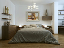 Het moderne binnenland van de slaapkamer royalty-vrije stock foto