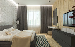 Het moderne binnenland van de slaapkamerzolder Stock Foto