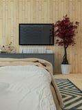 Het moderne binnenland van de slaapkamerzolder Stock Foto's