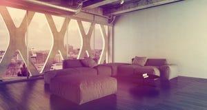 Het moderne binnenland van de slaapkamerzolder met groot tweepersoonsbed Stock Afbeelding